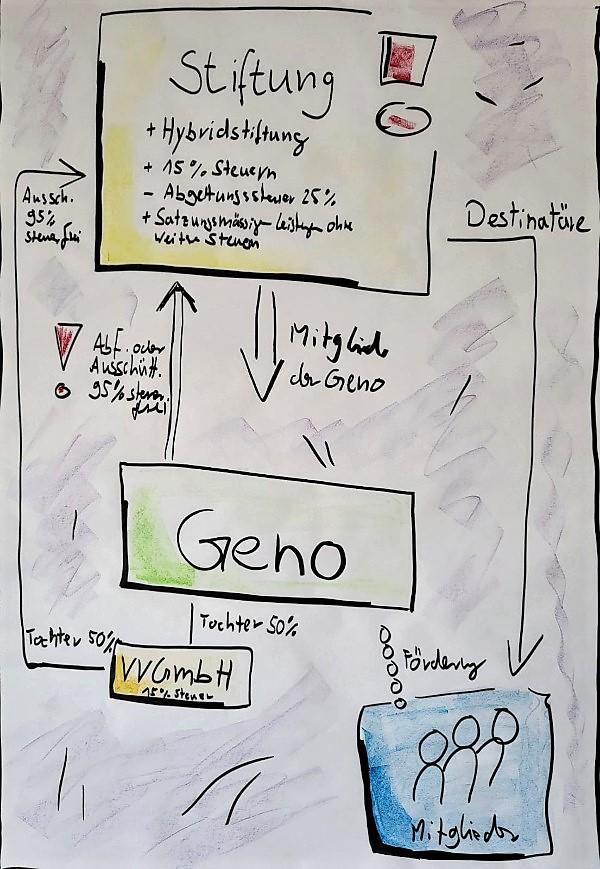GenoHeld Schaubild: Die Genossenschaft in einer Stiftungsstruktur